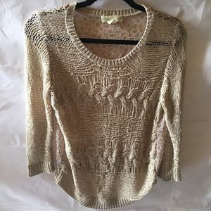 STARING AT STARS open knit sweater w/floral back